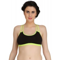 Full Cup Non-Padded Stretch Fit Black Sports Bra with Cross Back design (Size 36)