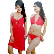 Satin Red Fashionable Sleeveless Comfortable Baby Doll Nightwear with 2 Piece Bra & Thong Lingerie Set
