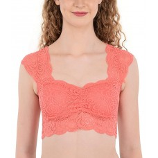 Lace Padded Peach Blouse Crop Top Vest Bralette (32-36inch Bust)