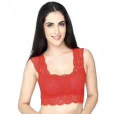Lace Padded Red Blouse Crop Top Vest Bralette (32-36inch Bust)