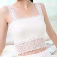 White Lace Top Vest Bralette Tank Caimsole Slip Blouse with Front Cotton Lining - (28-34 inch Bust)