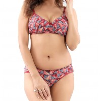 Cotton Full Cup Padded Non-Wired Printed Red Casual Bra & Panty Lingerie Set (Size 36)