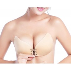 Backless Padded Self Adhesive Push Up Seamless Lace Up Silicone Bra Cup Size: C (Skin Colour)
