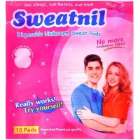 Pack of 10 - Sweatnil Underarm Disposable Highly Absorbent Sweat Pads Cotton (Self Sticks inside the garment)